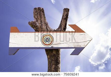 Paraguay wooden sign on a beautiful day