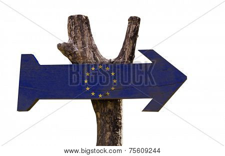 European Union wooden sign isolated on white background