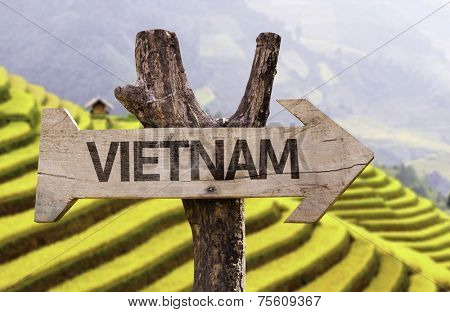 Vietnam wooden sign with a Sa Pa background