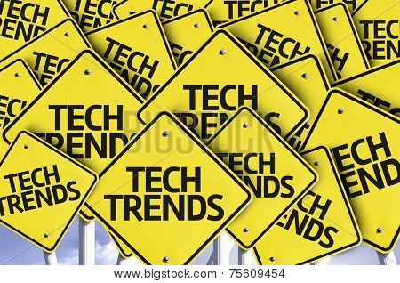 Tech Trends written on multiple road sign