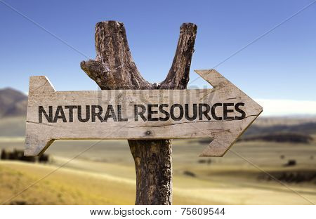 Natural Resources wooden sign with a desert background