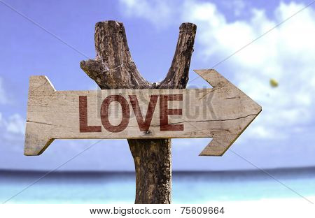 Love wooden sign with a beach on background