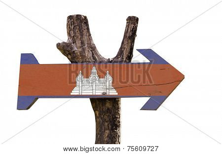 Cambodia wooden sign isolated on white background