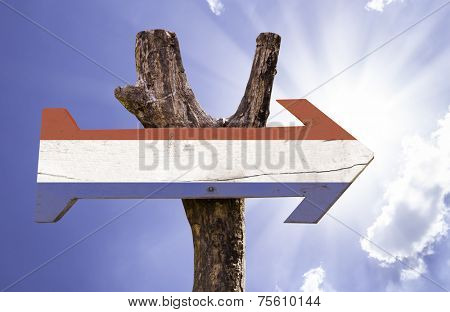 Netherlands wooden sign on a beautiful day