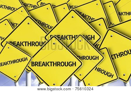 Breakthrough written on multiple road sign
