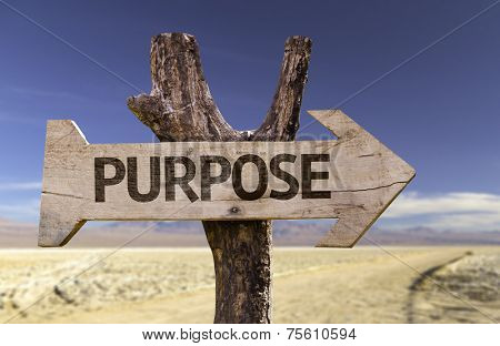 Purpose wooden sign with a desert background