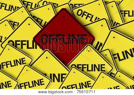 Offline written on multiple road sign