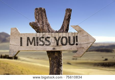 I Miss You! wooden sign with a desert background