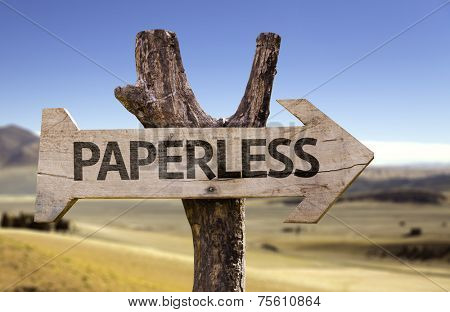Paperless wooden sign with a desert background