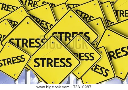 Stress written on multiple road sign