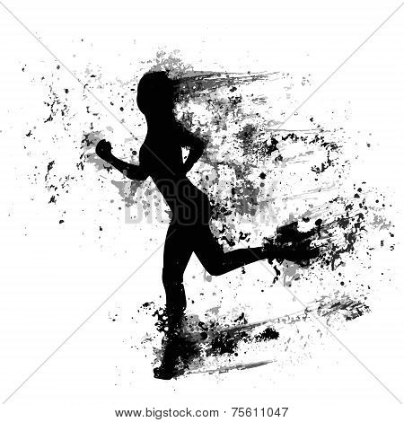 sport woman run paint splash silhouettes, black girl isolated