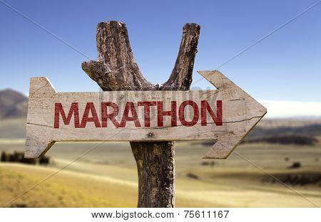 Marathon wooden sign with a desert background