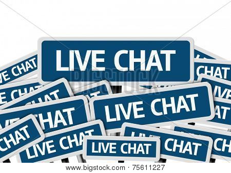 Live Chat written on multiple blue road sign