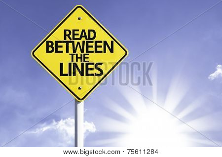 Read Between the Lines road sign with sun background