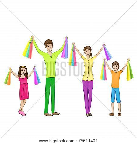 Happy family four people with shopping bags