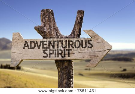 Adventurous Spirit wooden sign with a desert background