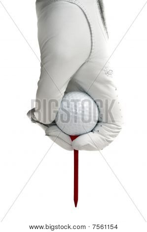 White Golve, Golf Ball And  Red Tee