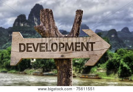 Development wooden sign with a forest background