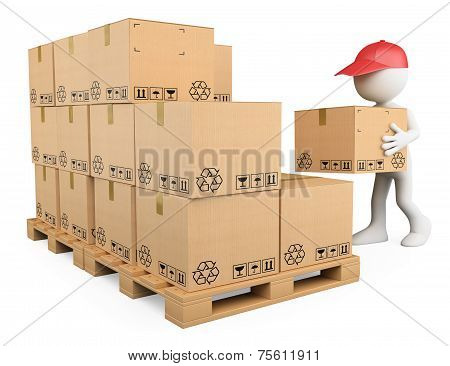 3D White People. Stock Boy Stacking Boxes