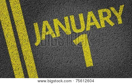 January 1 written on the road