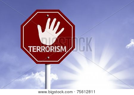 Stop Terrorism red sign with sun background