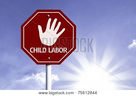 Stop Child Labor red sign with sun background