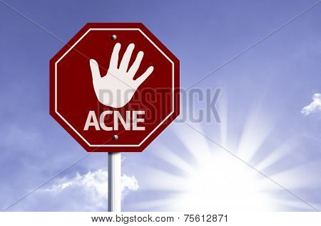 Stop Acne red sign with sun background