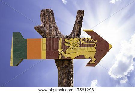 Sri Lanka wooden sign on a beautiful day