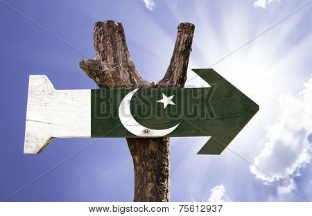 Pakistan wooden sign on a beautiful day