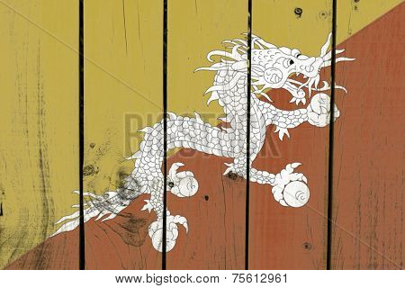 Bhutan flag on wooden background