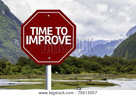 Time to Improve red sign with a landscape background