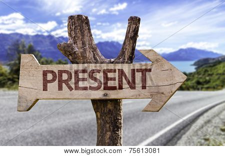 Present wooden sign with a street background