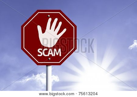 Stop Scam red sign with sun background