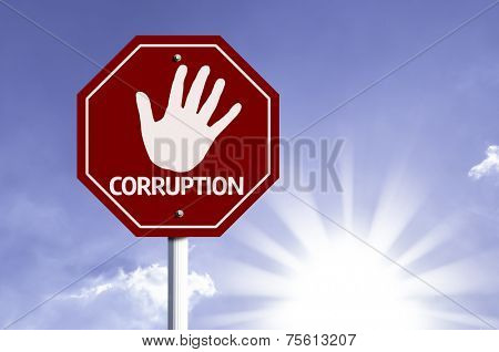 Stop Corruption red sign with sun background