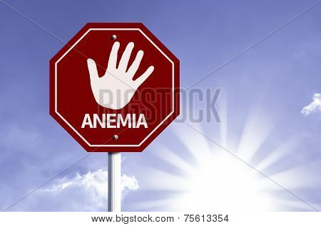 Stop Anemia red sign with sun background