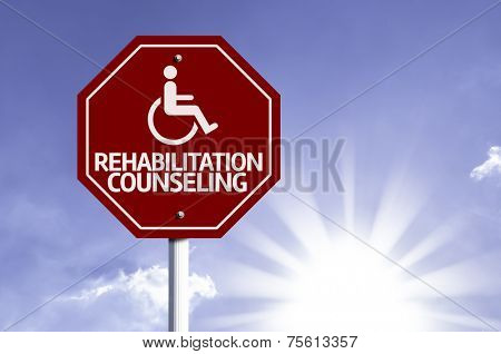 Rehabilitation Counseling with Disabled Icon sign with sun background