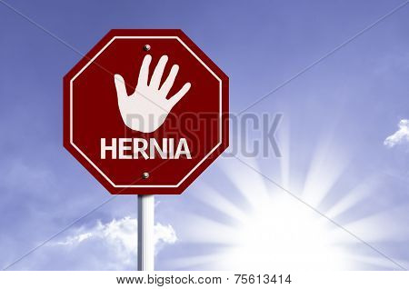 Stop Hernia red sign with sun background