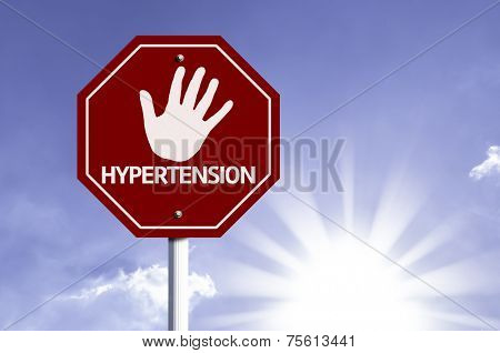 Stop Hypertension red sign with sun background