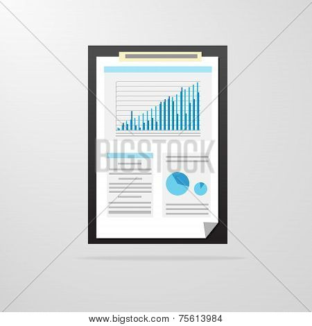 clipboard paper document graph chart icon vector illustration