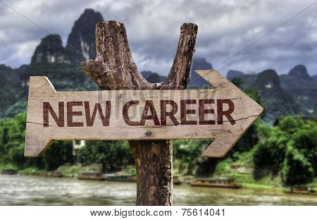 New Career wooden sign with a forest background