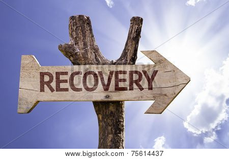 Recovery wooden sign on a beautiful day