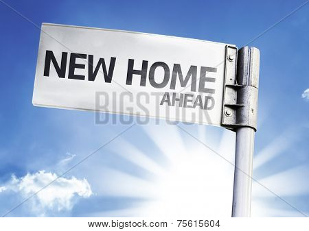 New Home written on the road sign