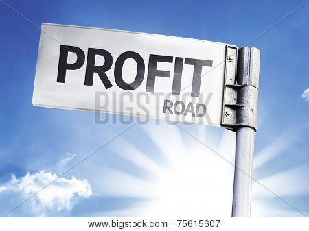 Profit written on the road sign