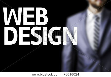 Web Design written on a board with a business man on background