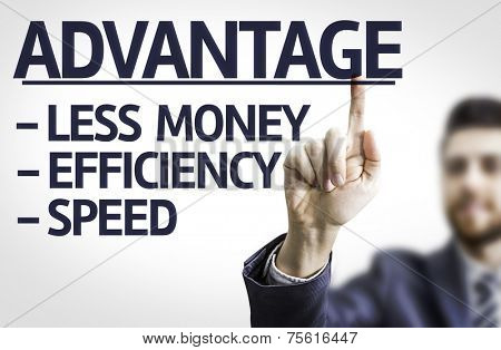 Business man pointing to transparent board with text: Description of Advantage