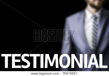 Testimonial written on a board with a business man on background