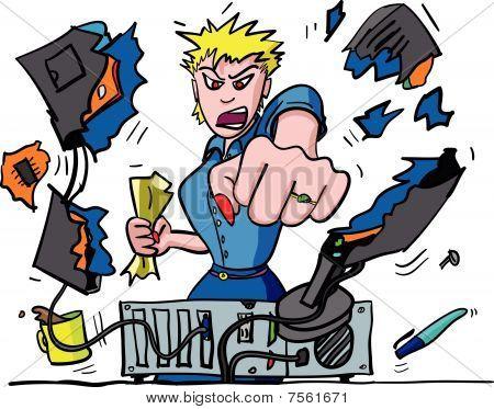 Computer Rage Illustration of office worker punching VDU : Bigstock