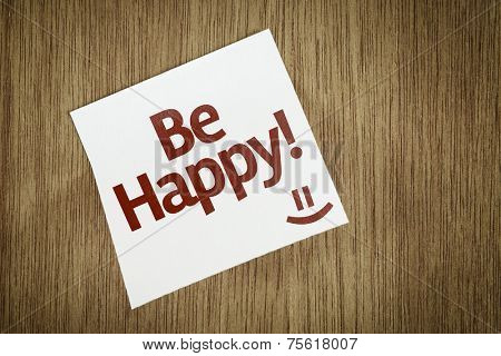 Be Happy on Paper Note on texture background