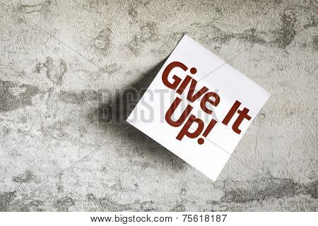 Give It Up on Paper Note on sky background