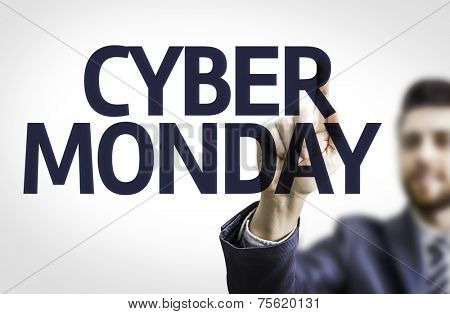 Business man pointing to transparent board with text: Cyber Monday